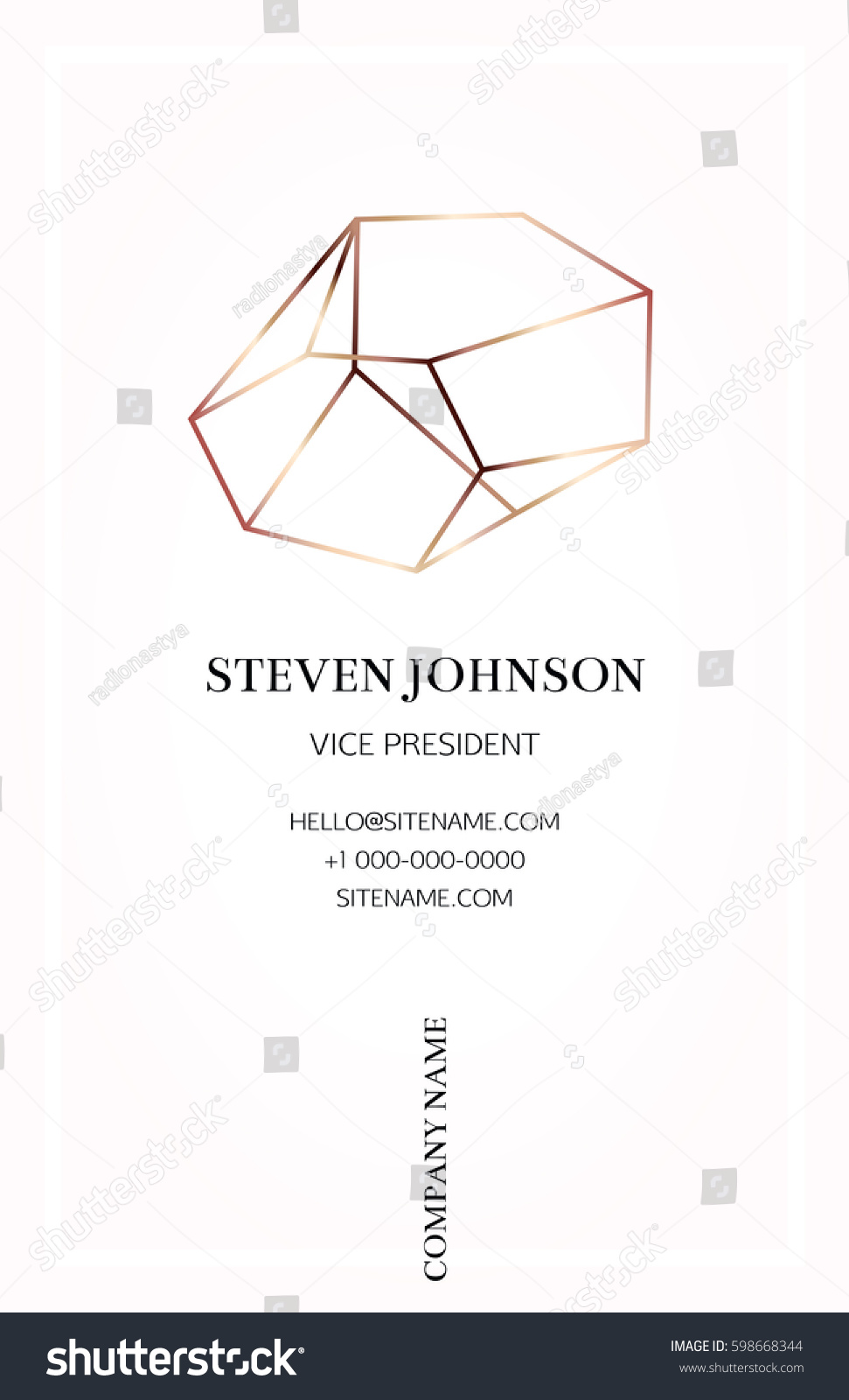 pink business card bronze crystal logo stock vector royalty free