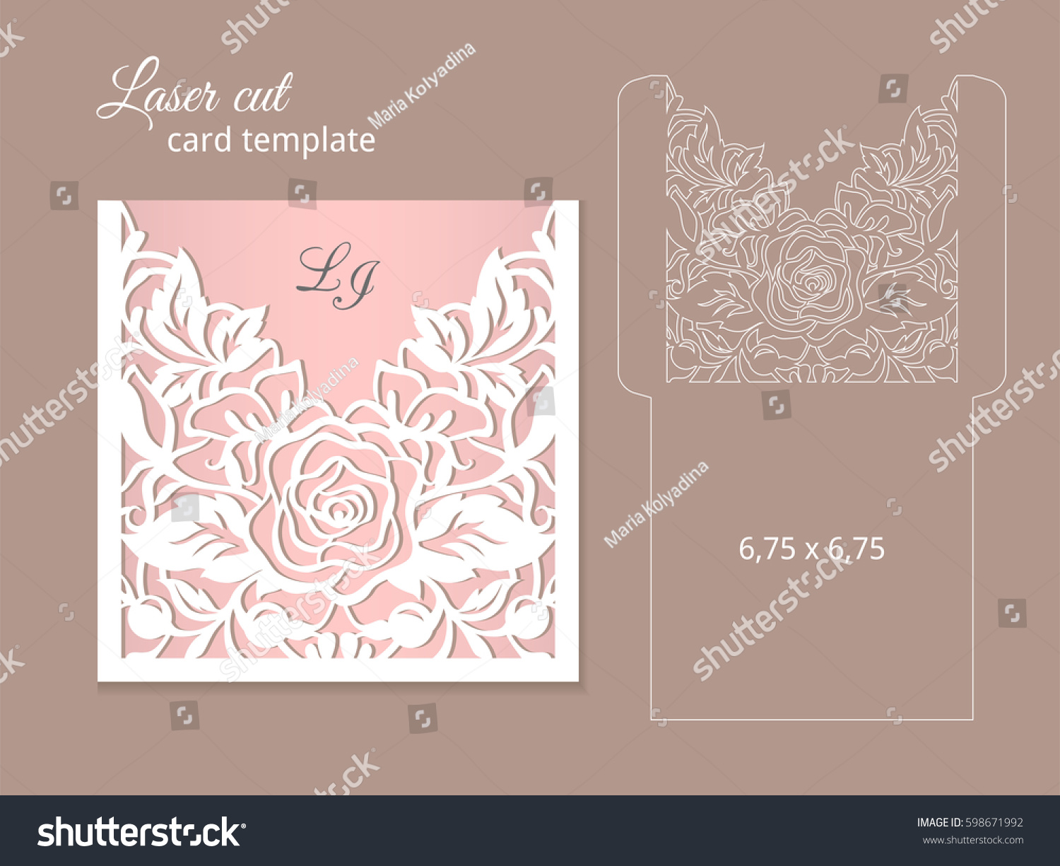 Laser cut invitation card template wedding em vetor stock 598671992 laser cut invitation card template wedding invitation template for laser cutting or die cutting stopboris