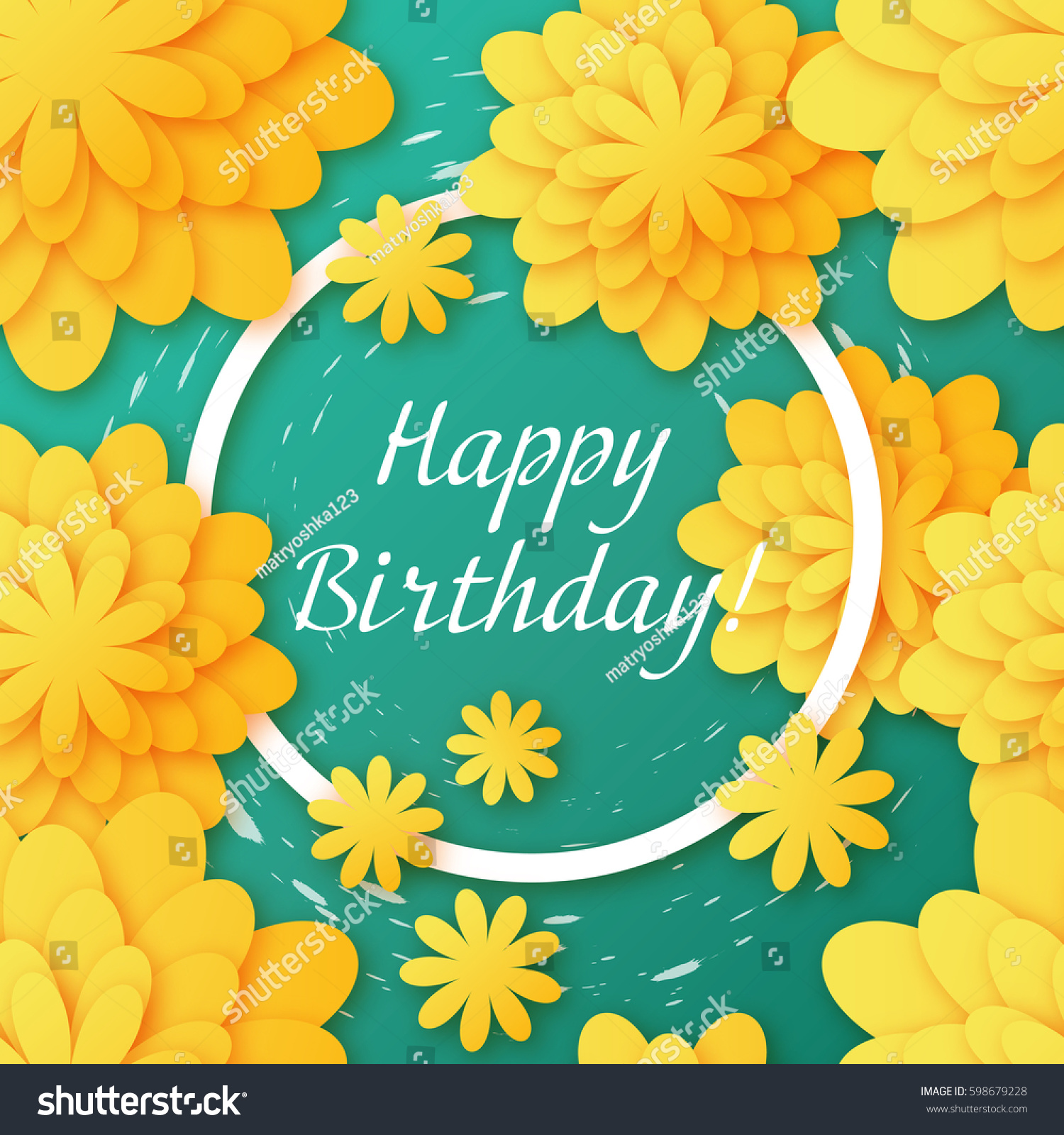 Postcard Happy Birthday Floral Background Print Stock Illustration