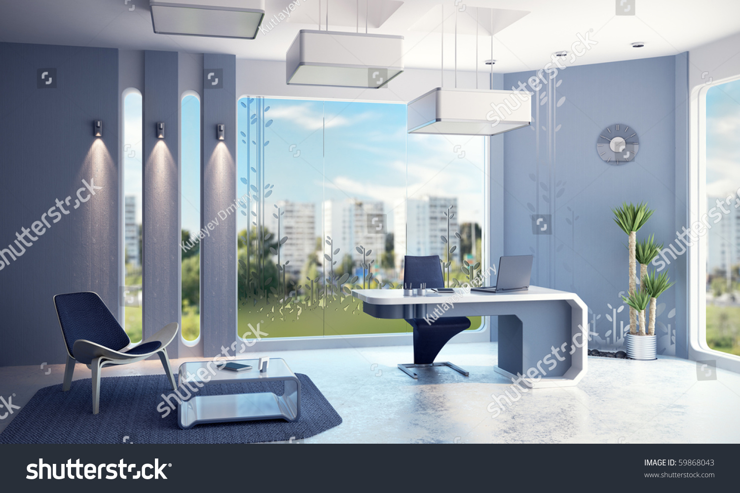 Modern Office Interior 3d Rendering Preview Save To A Lightbox  Modern Office Interior