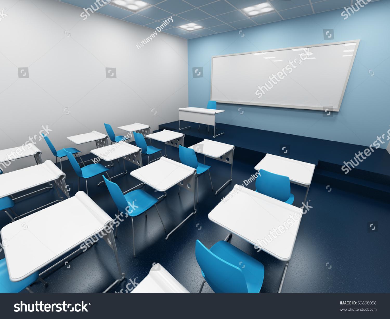 Modern Classroom Blocks ~ Modern classroom d rendering stock illustration