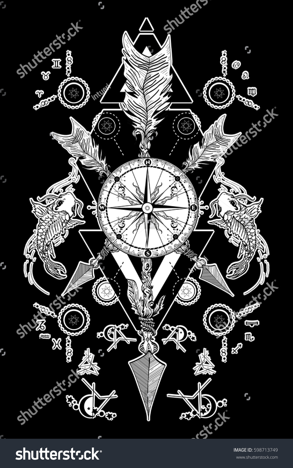 Rose Compass Crossed Arrows Tattoo Magical Stock Vector Royalty