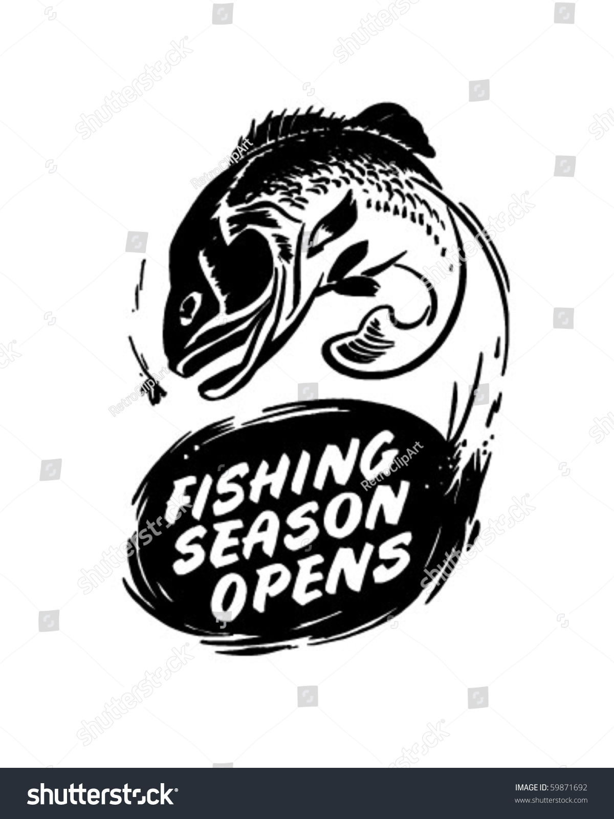 Fishing season opens header retro clip stock vector for When is fishing season