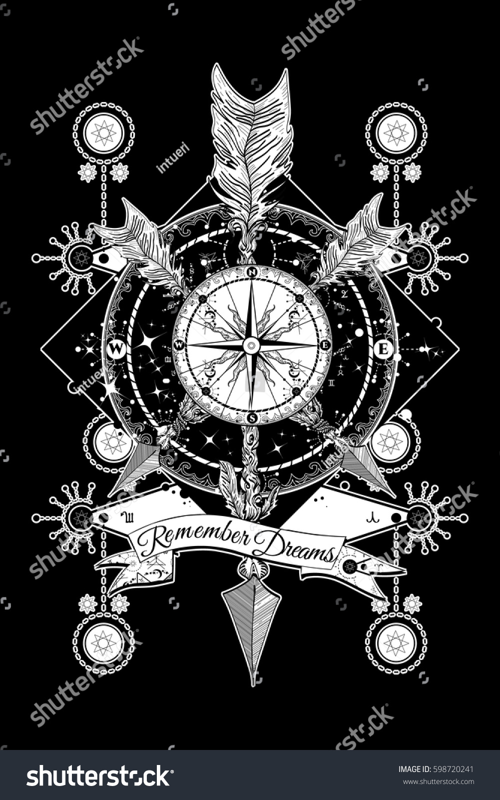 Rose Compass Crossed Arrows Tattoo Boho Stock Vector Royalty Free
