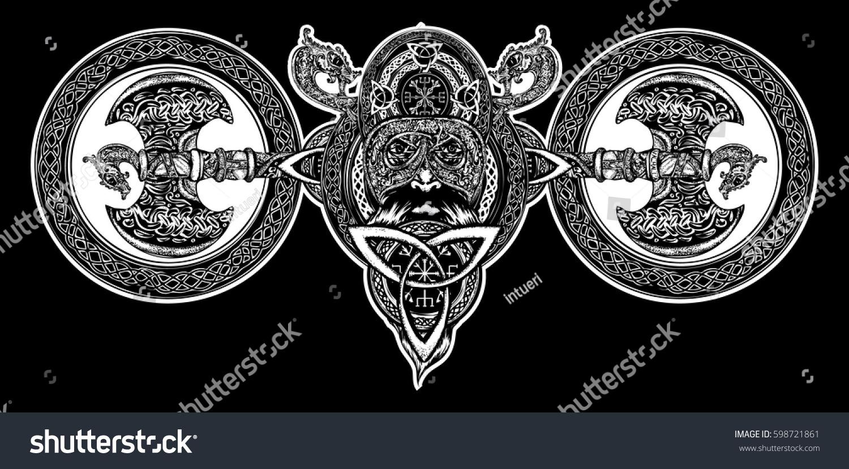 viking tattoo celtic style north warrior stock vector 598721861 shutterstock. Black Bedroom Furniture Sets. Home Design Ideas