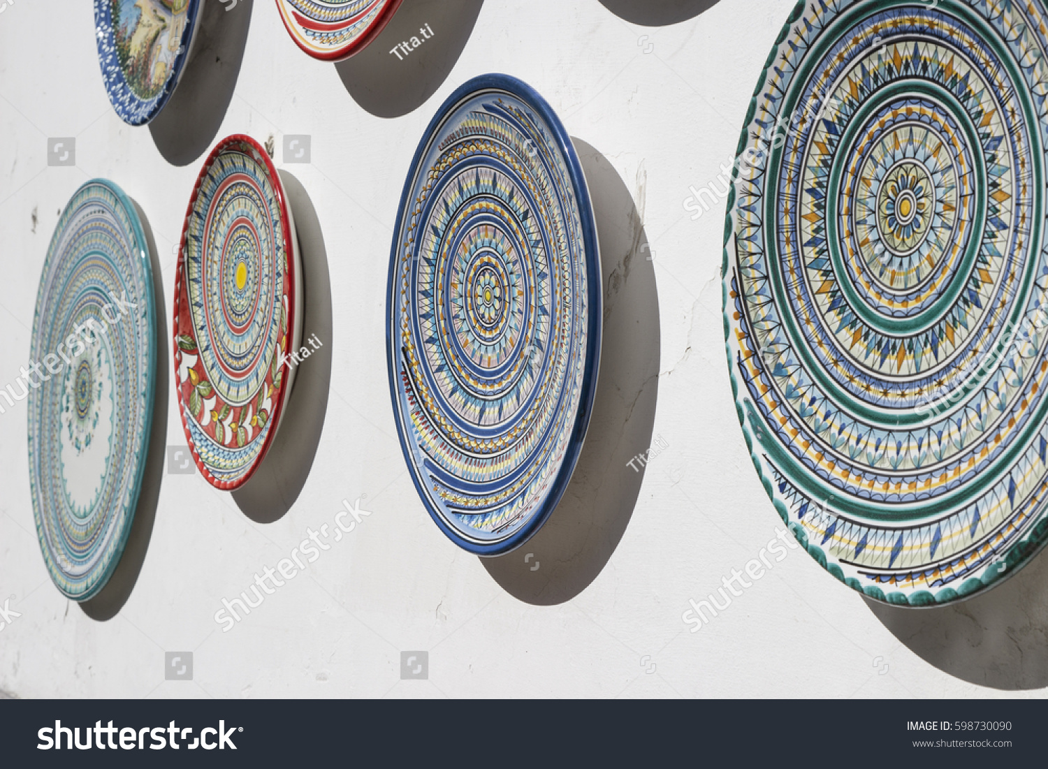 Vietri pottery sale - Various Decorated Pottery Dishes Hung For Sale Outside A Souvenir Shop In Vietri Sul Mare