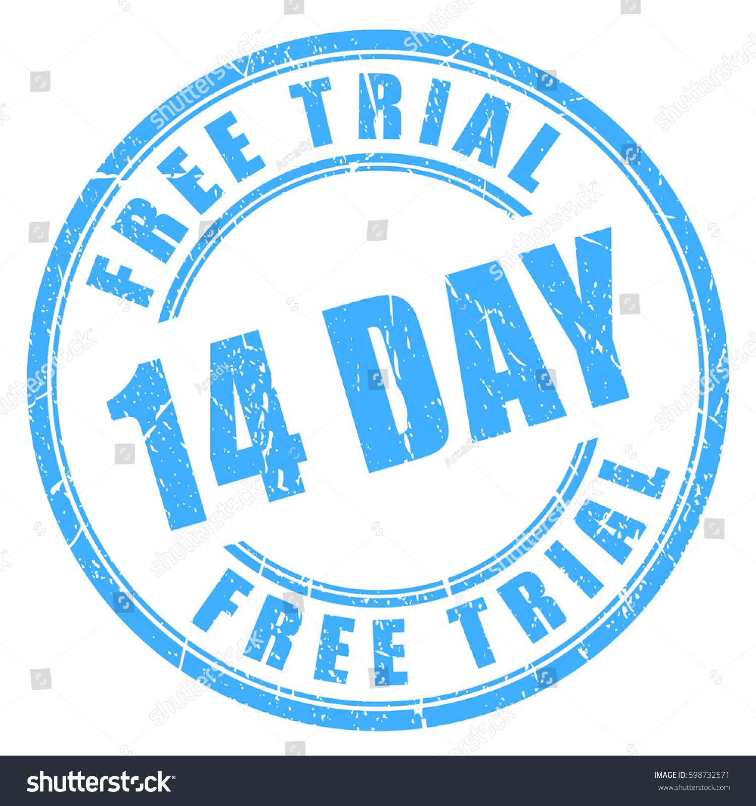 14 day free trial rubber stamp stock vector royalty free 598732571