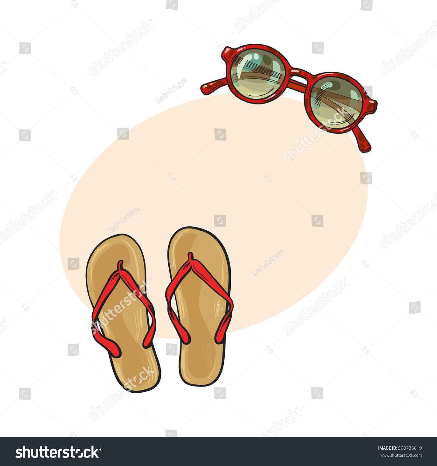 0e37f3f3b9593 Pair Flip Flops Round Sunglasses Summer Stock Vector (Royalty Free ...