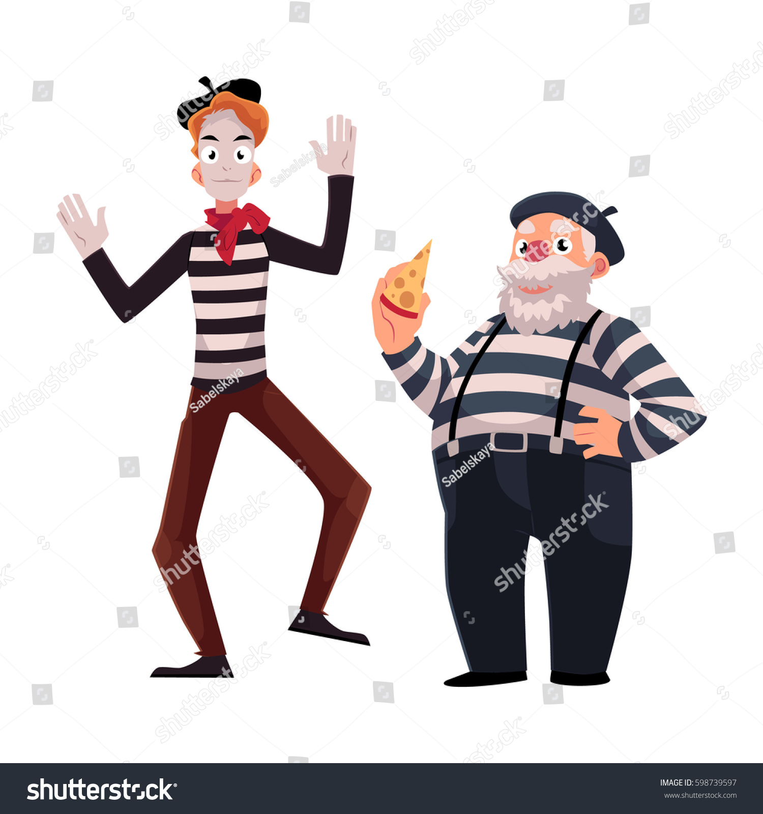 Young And Old Cartoon Two French Mimes Young...
