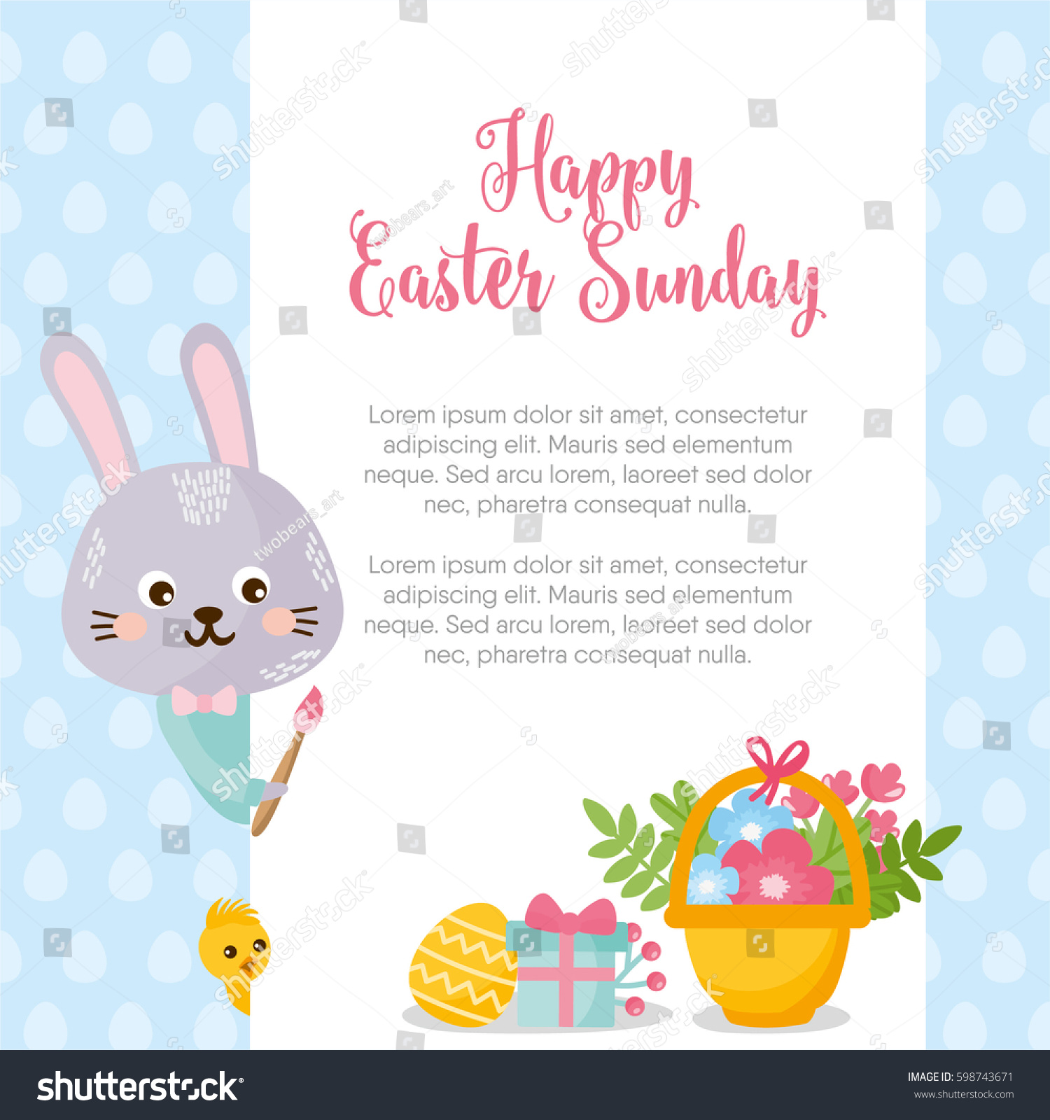 Happy Easter Sunday Card Template Illustration Stock Vector Royalty