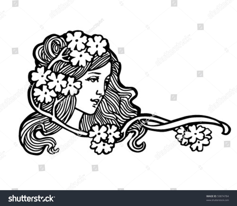 flower girl retro clip art - Flower Girl Coloring Book