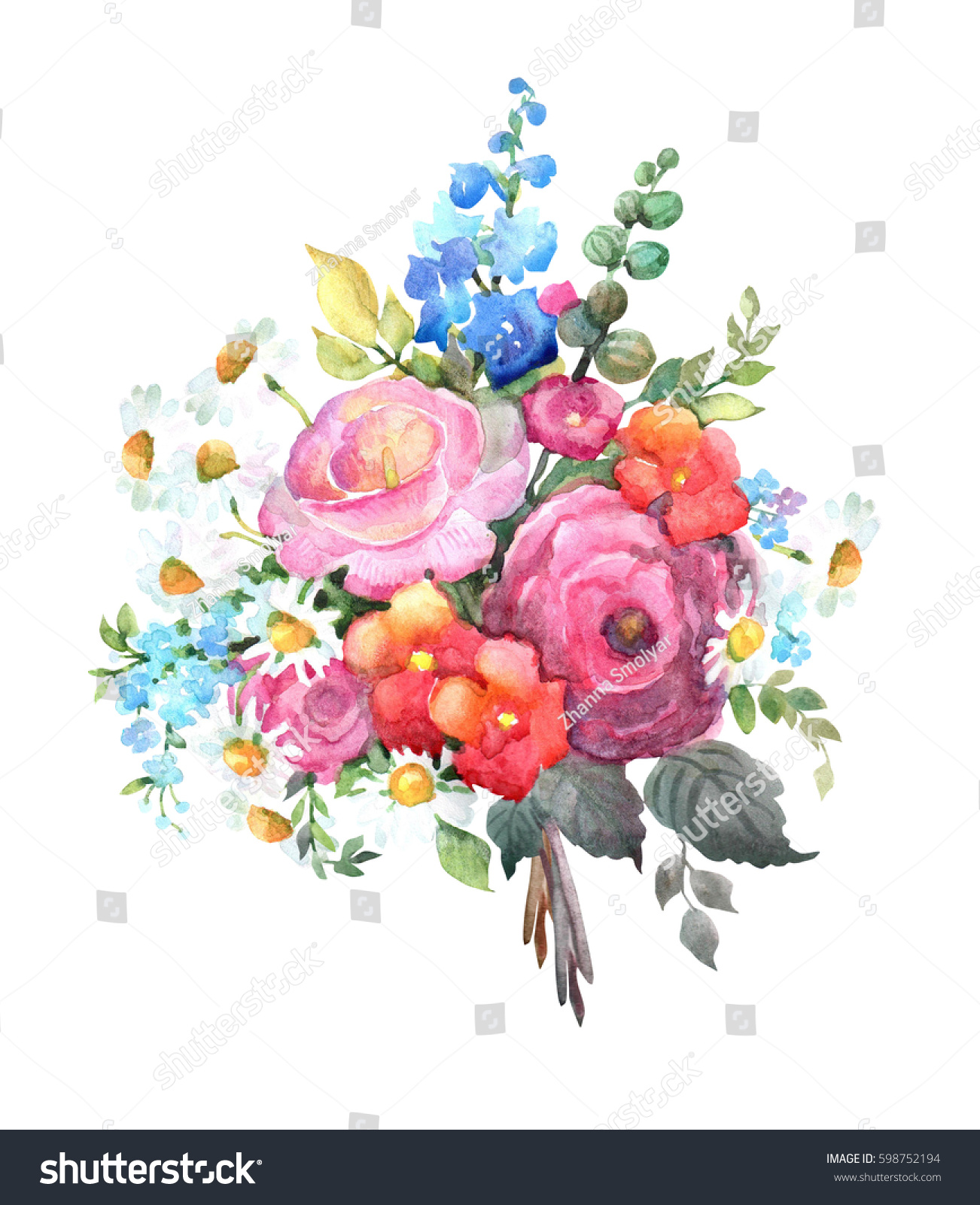 Rose /& Delphinium Hand Painted Watercolour Spring Flower Clipart