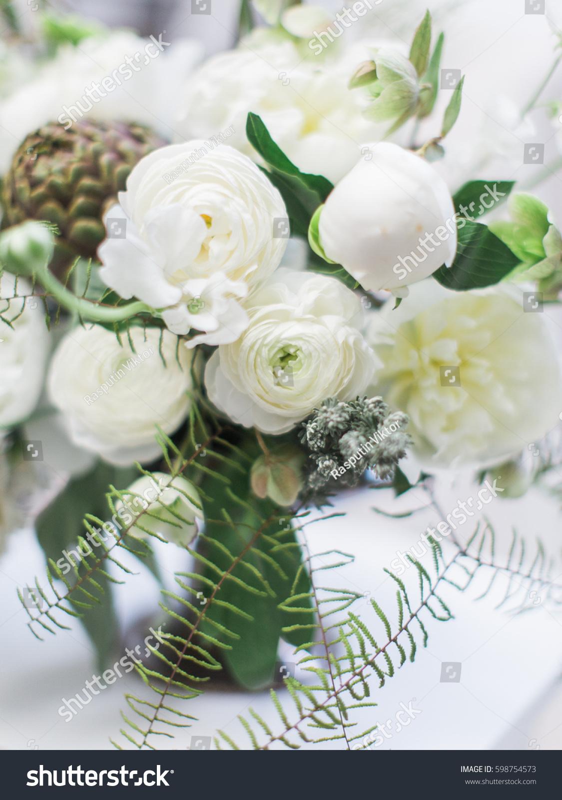 Modern Wedding White Flower Bouquet Bride Stock Photo Edit Now 598754573