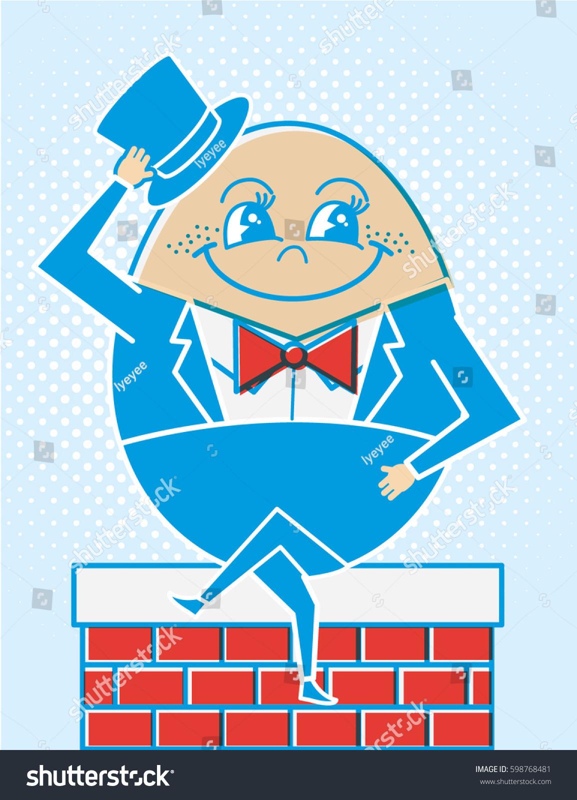 Humpty Dumpty Egg Sitting On Wall Stock Vector Royalty Free