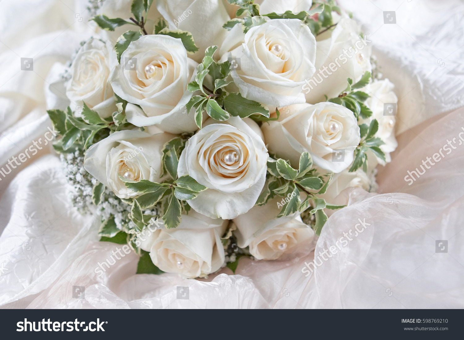 Wedding Bouquet Made Of White Roses On A Natural Background Ez Canvas