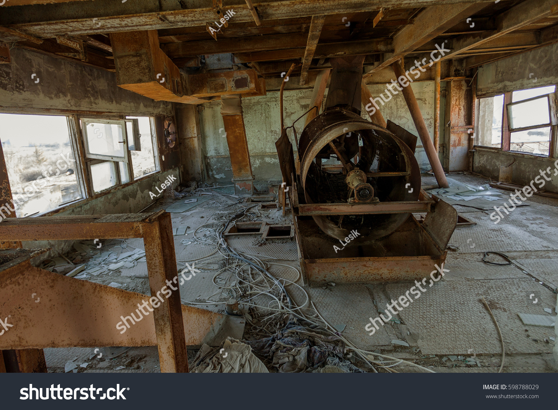 Industrial Ventilation Building : Old rusty industrial ventilation abandoned building stock