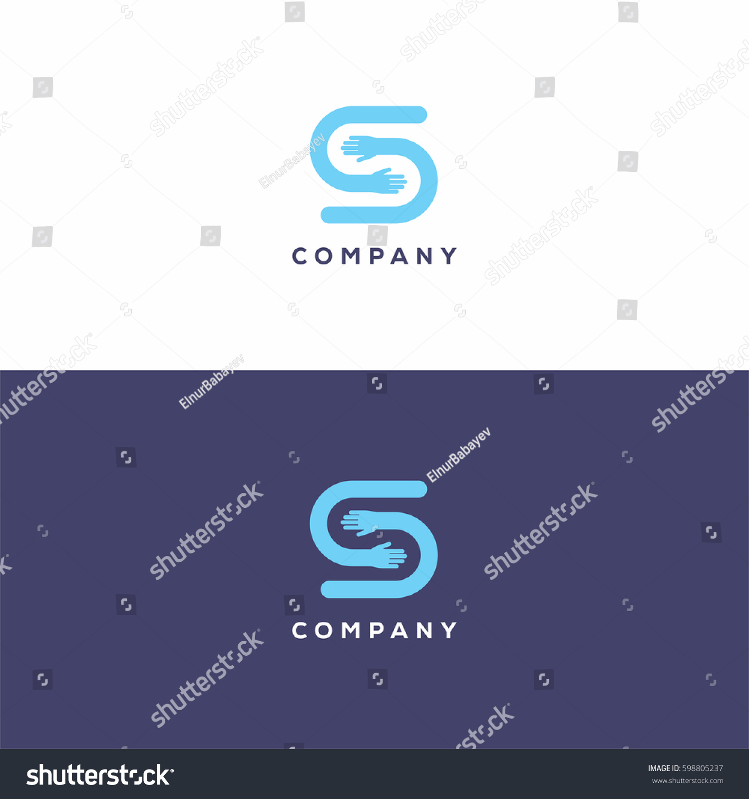 Blue Letter S Logo Icon Template Stock-Vektorgrafik 598805237 ...