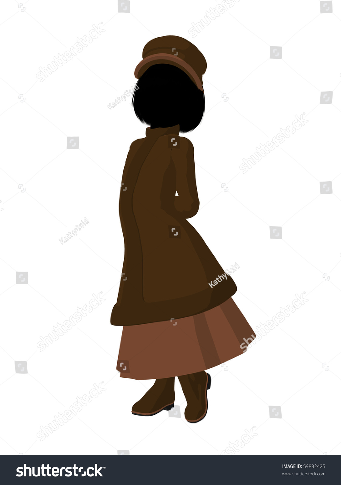 db83c822438 Victorian girl silhouette on a white background