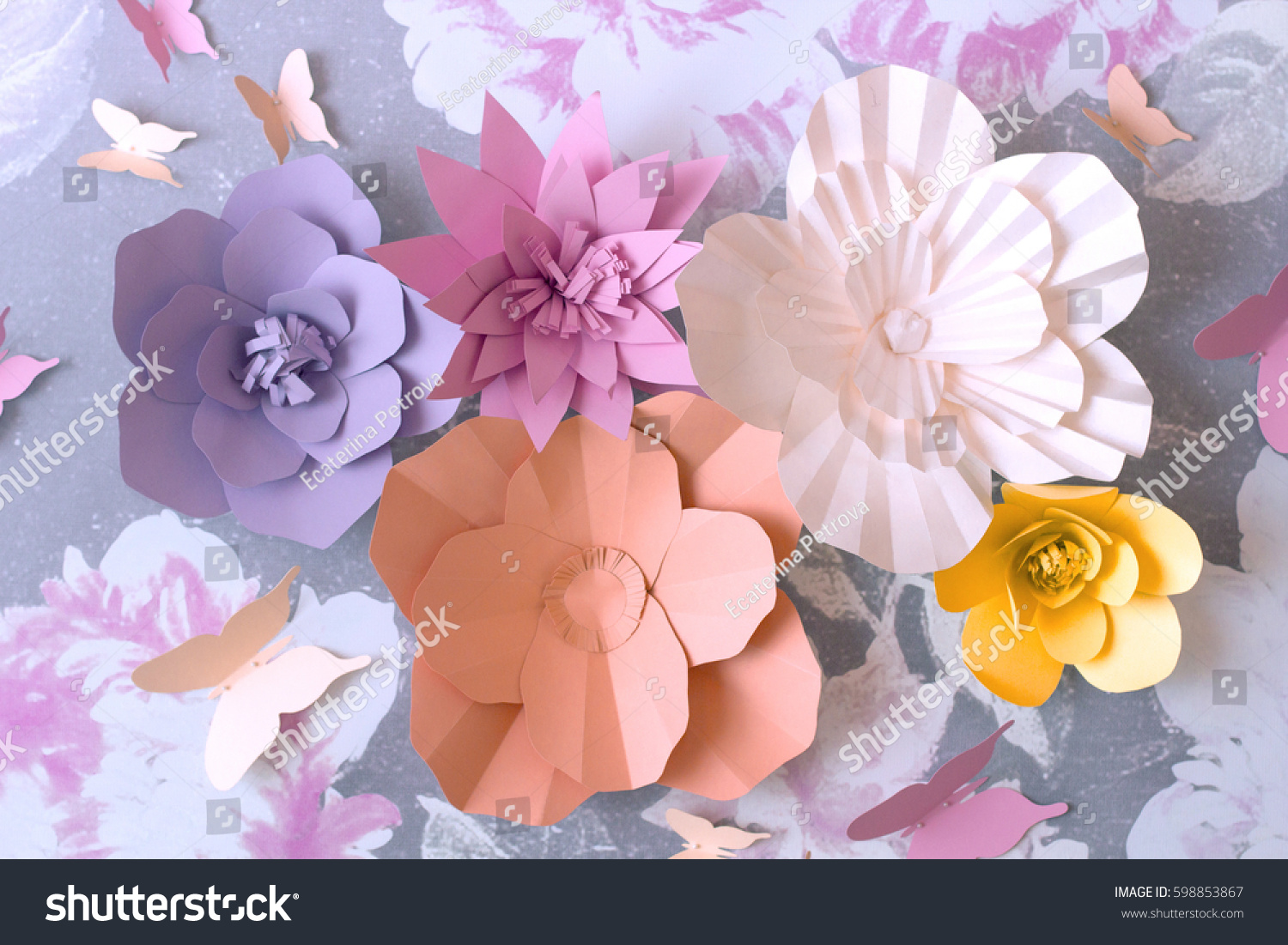 Color Flowers Paper Background Decorative Paper Stock Photo Royalty