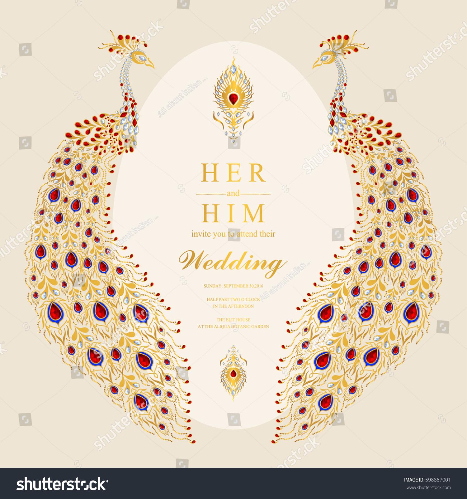 Indian Wedding Invitation Card Templates Gold Stock Vector 598867001 ...
