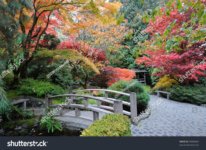 Autumnal Japanese Garden In Victoria Vancouver Island British Columbia Canada Stock Photo ...
