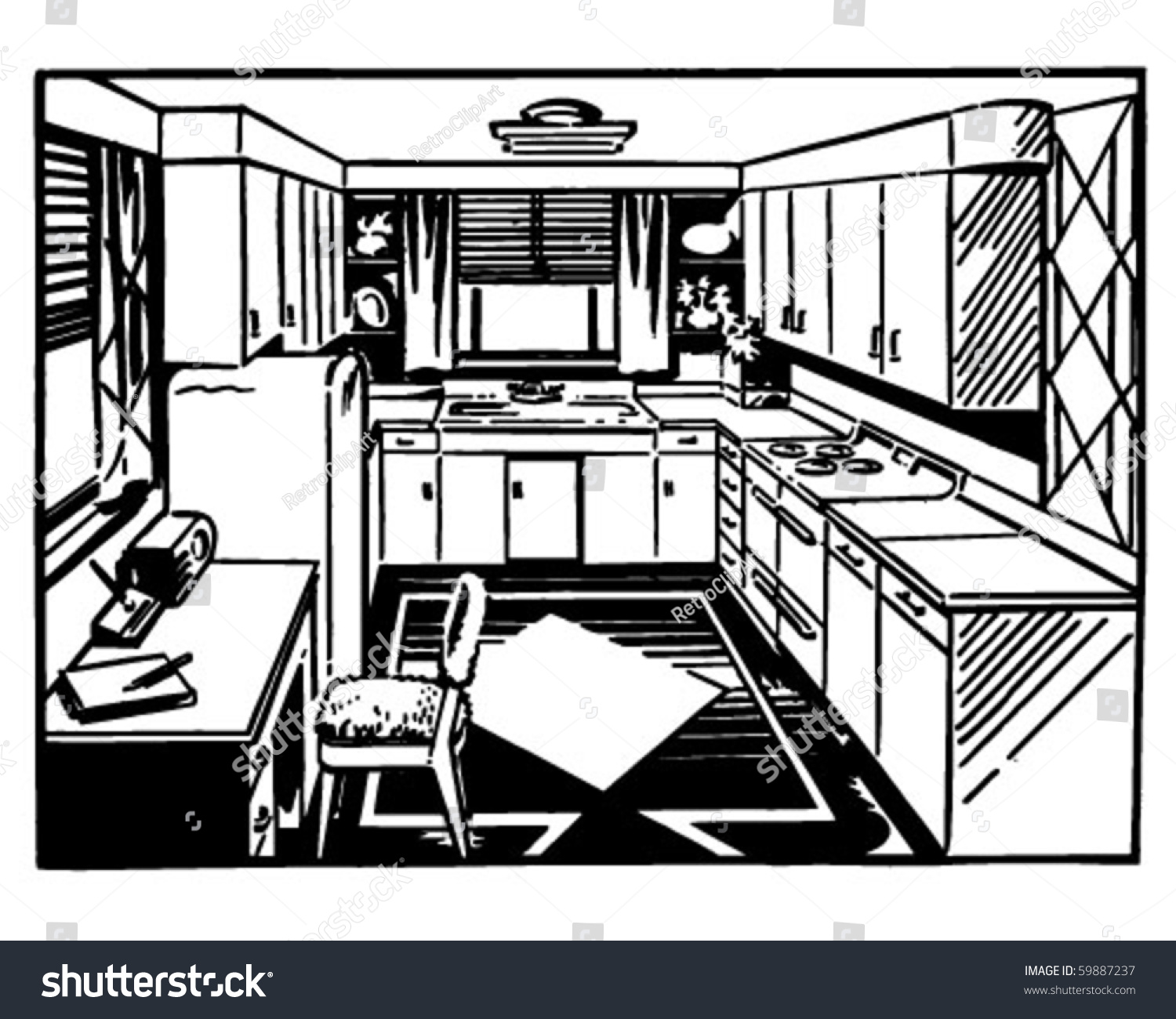 Kitchen Window Clip Art: Retro Kitchen 2 Clip Art Stock Vector 59887237