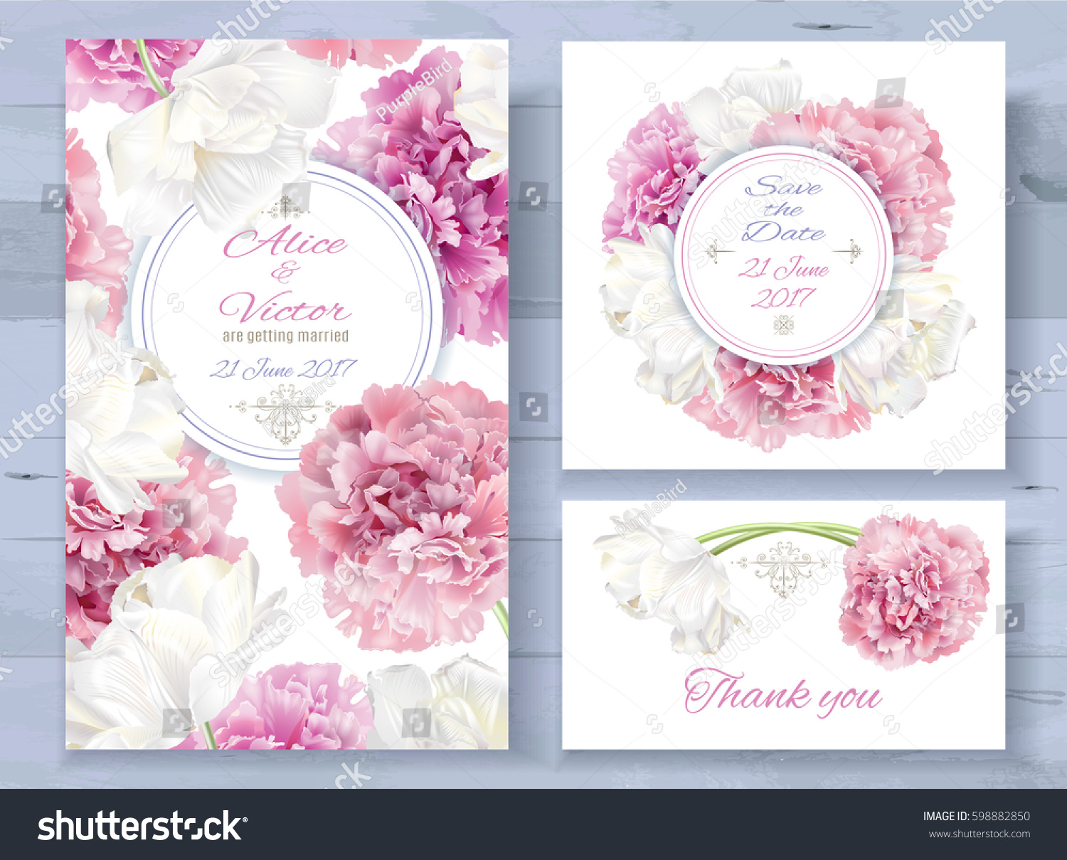 Vector wedding invitations set with pink peony and white tulip flowers on white background. Romantic tender floral design for wedding invitation, save the date and thank you cards. With place for text #598882850