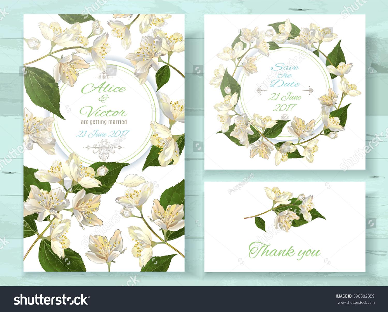 Vector Wedding Invitations: Vector Wedding Invitations Set Jasmine Flowers Stock