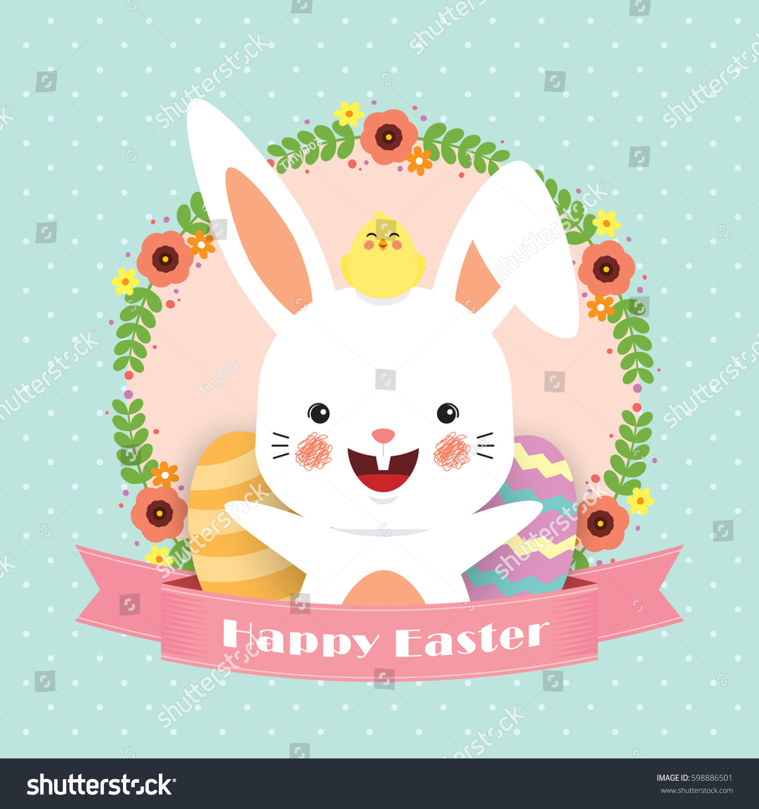 Easter Greeting Card Template Design Cute Stock Vector 598886501