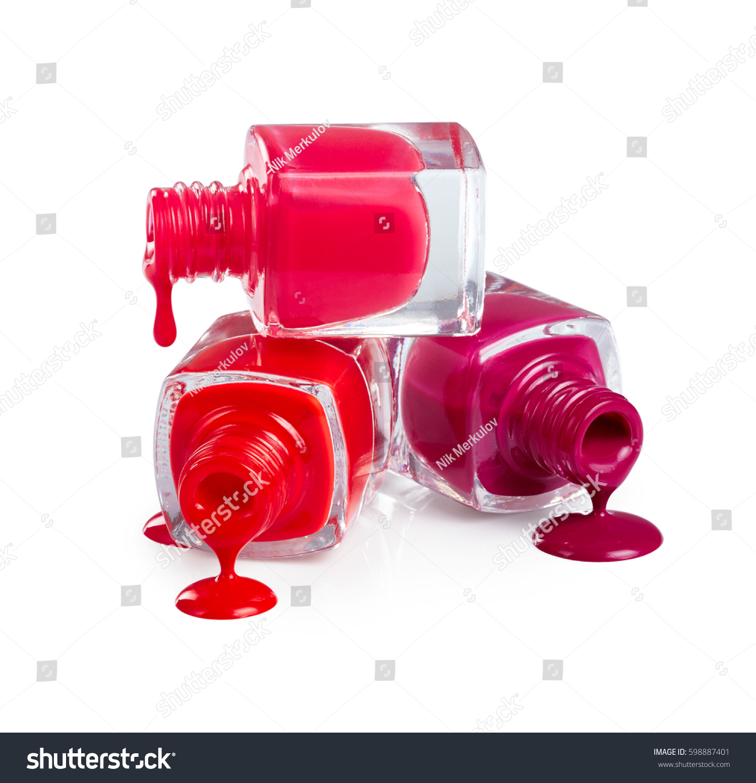 Stack Bottles Spilled Nail Polish Isolated Stock Photo (Download Now ...