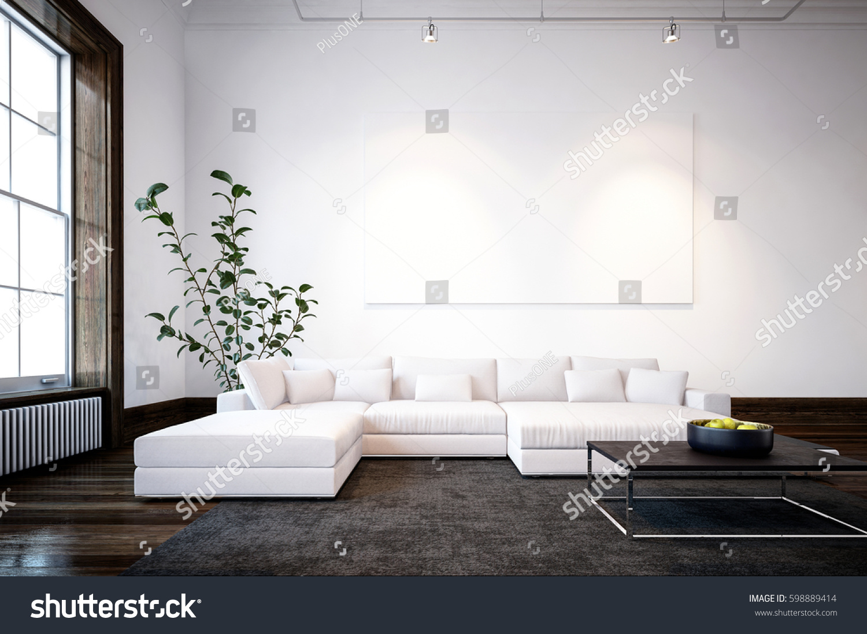 Large Spacious Modern Minimalist Living Room Stock Illustration ...
