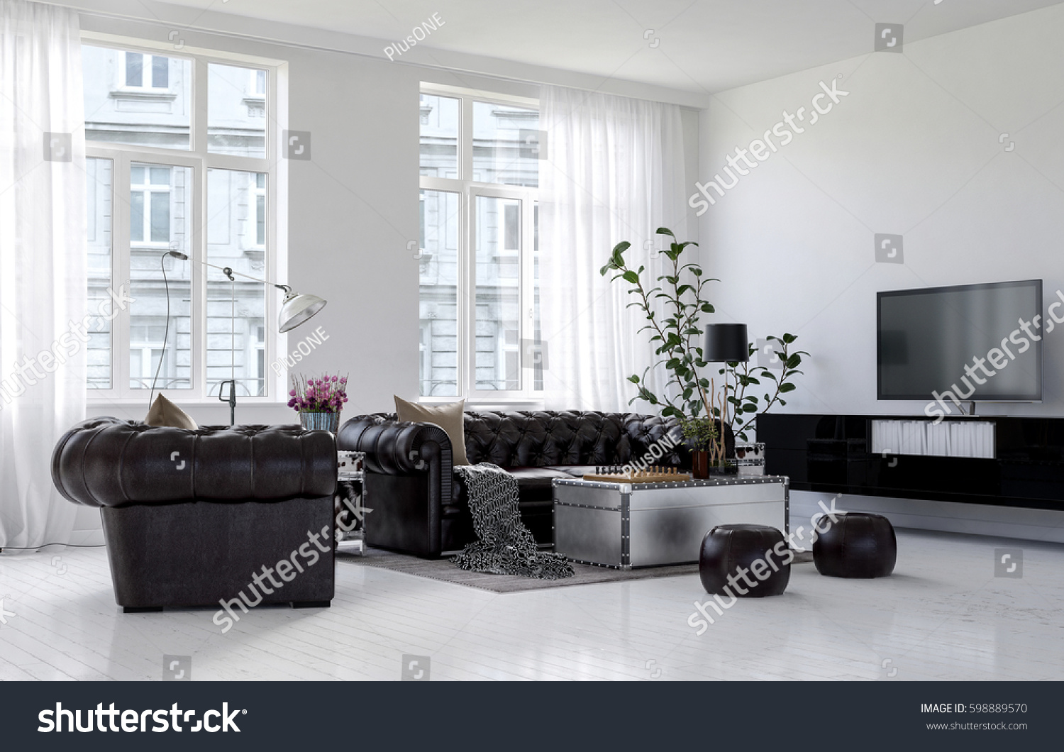 Spacious Living Room City Apartment Building Stock Illustration ...