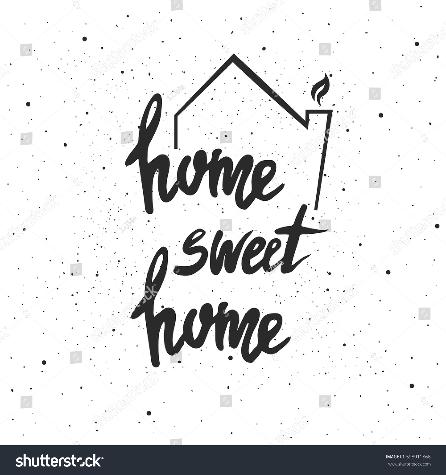 Home Sweet Home Lettering Hand Drawn Stock Photo (Photo, Vector ...
