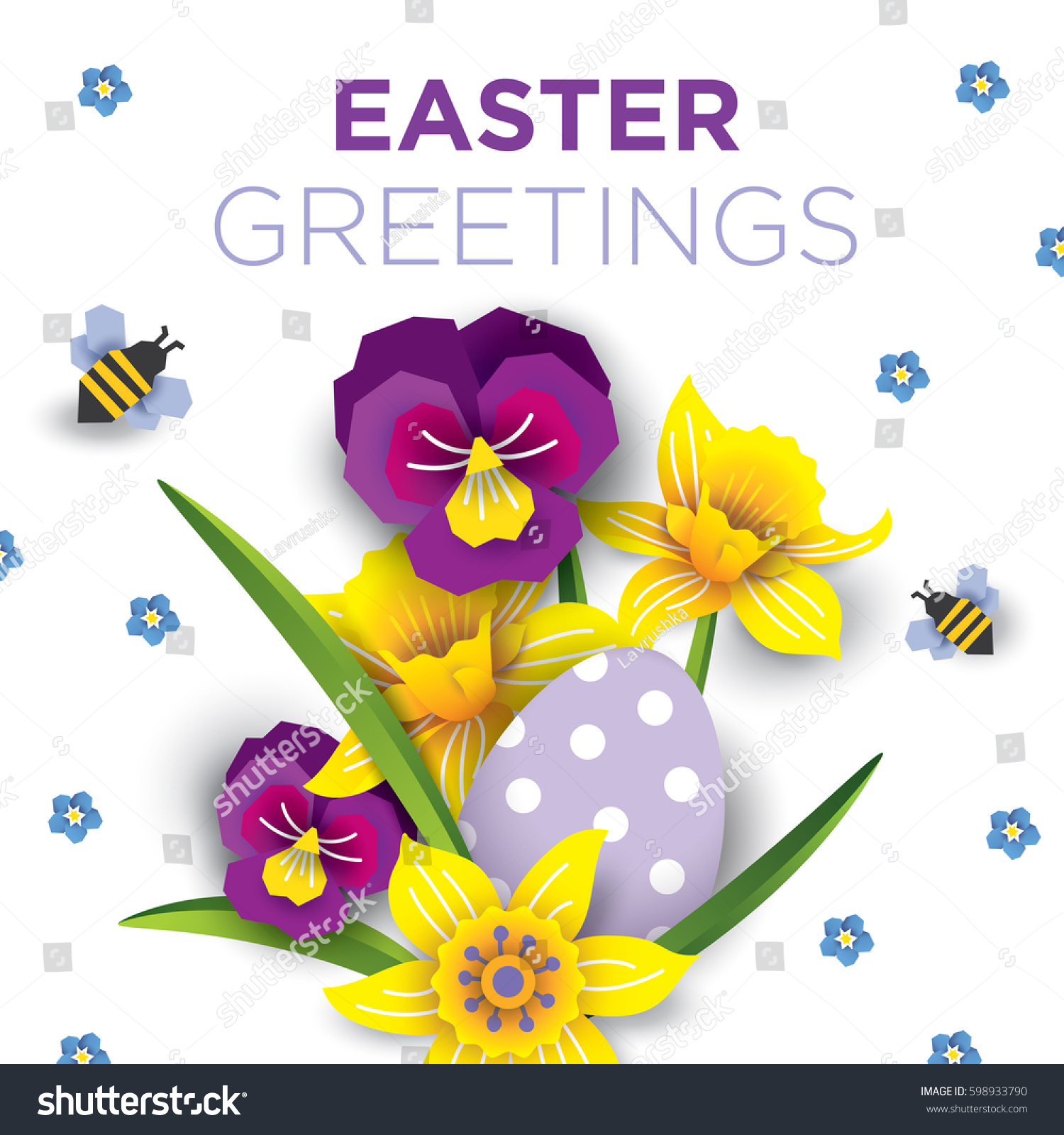 Easter Greetings Card Vector Illustration Spring Stock Vector