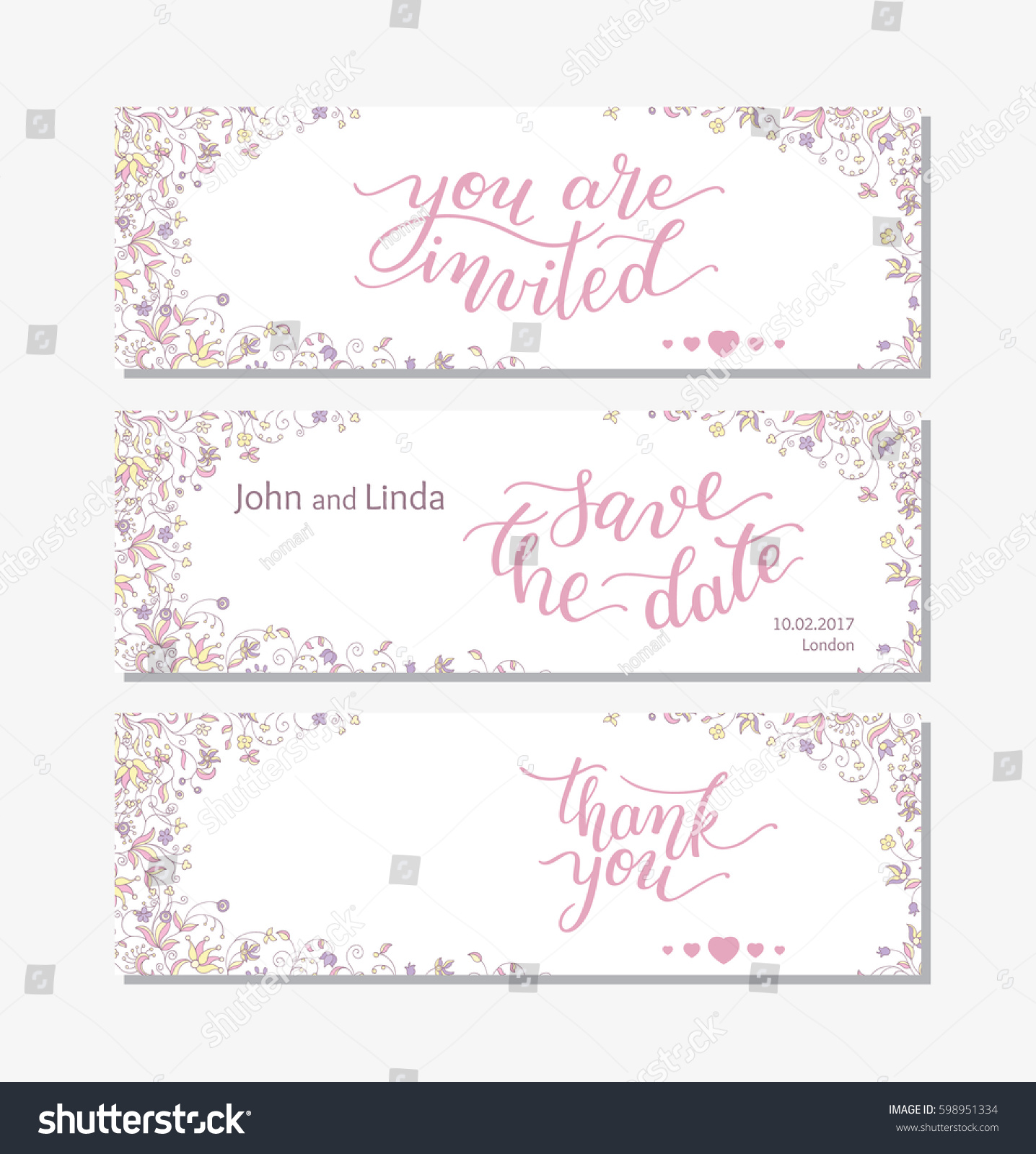 wedding set template flowers hand lettering stock vector 598951334 shutterstock. Black Bedroom Furniture Sets. Home Design Ideas