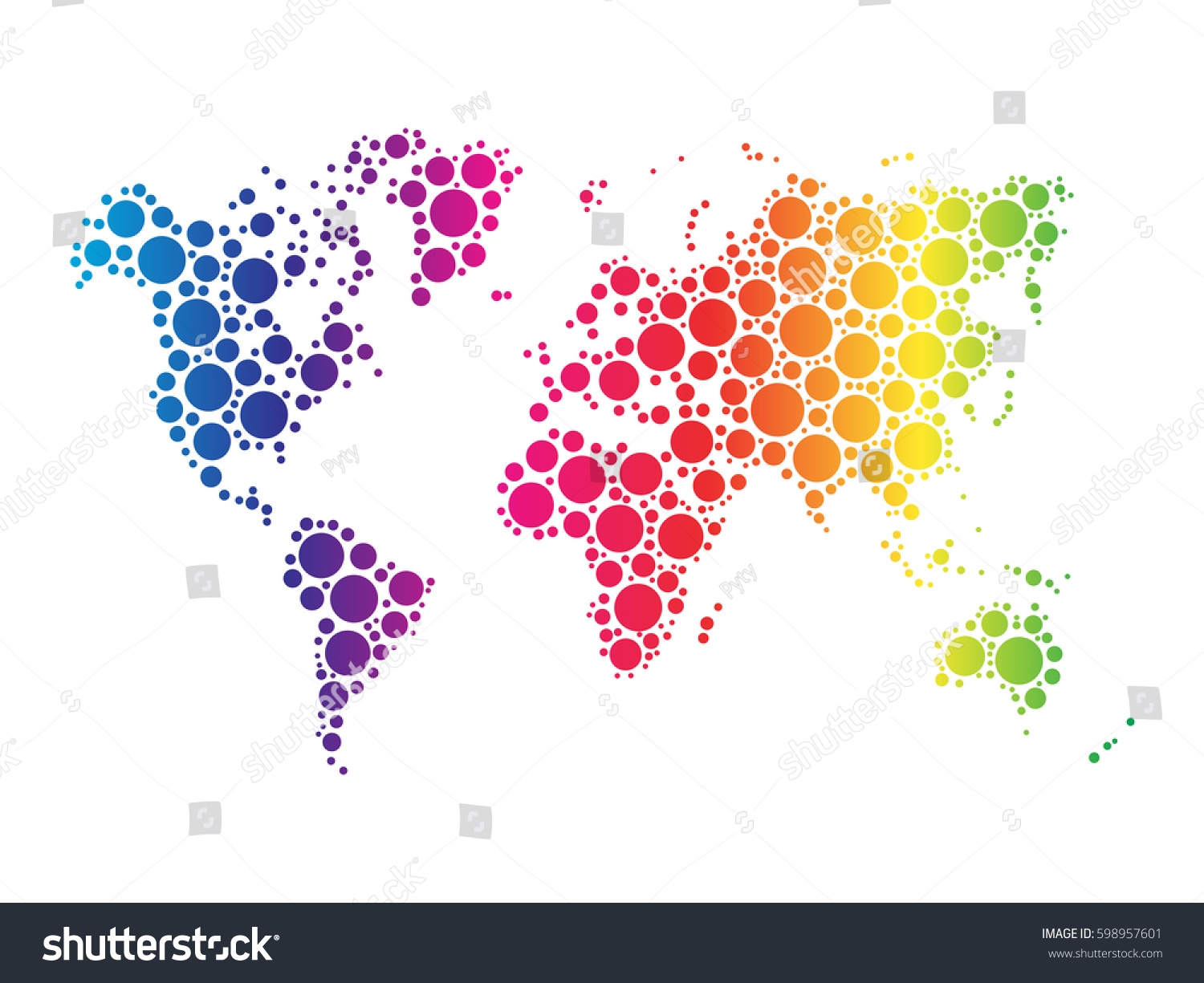 World map wallpaper mosaic dots rainbow stock vector 598957601 world map wallpaper mosaic of dots in rainbow spectrum colors on white background vector illustration gumiabroncs Gallery