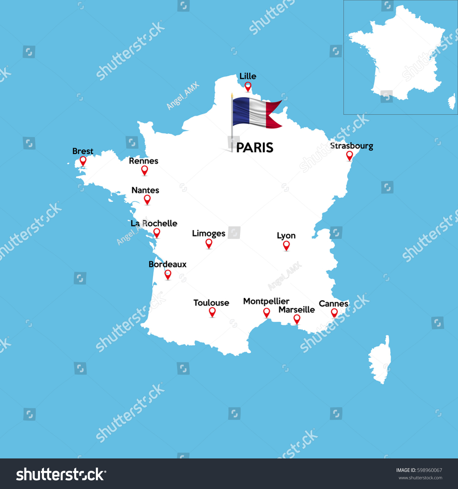 Detailed Map France Indexes Major Cities Stock Vector - Major cities in france