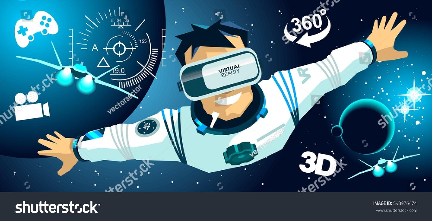 Man Vr Glasses Video Game Fly Stock Vector Royalty Free 598976474