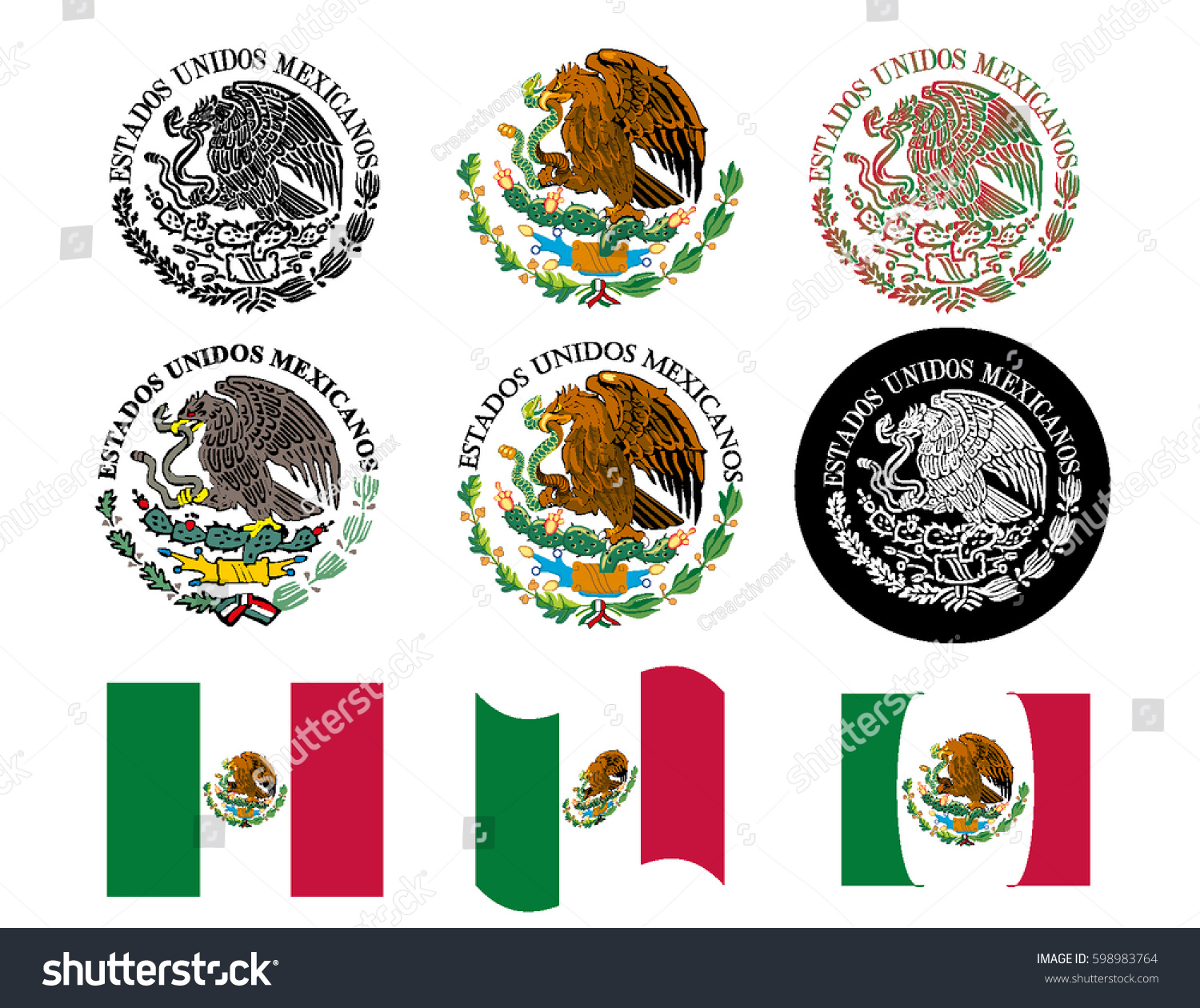 mexican flag seal set stock vector 598983764 shutterstock