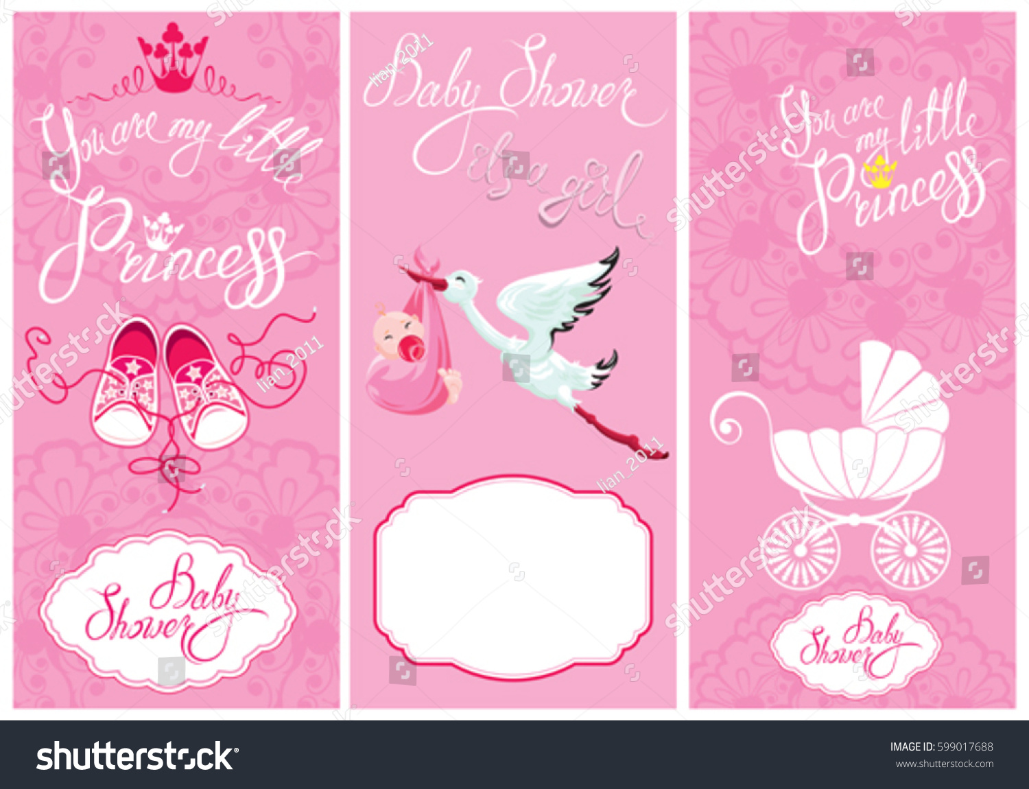 Baby girl shower set party decoration stock vector for Baby shower decoration set