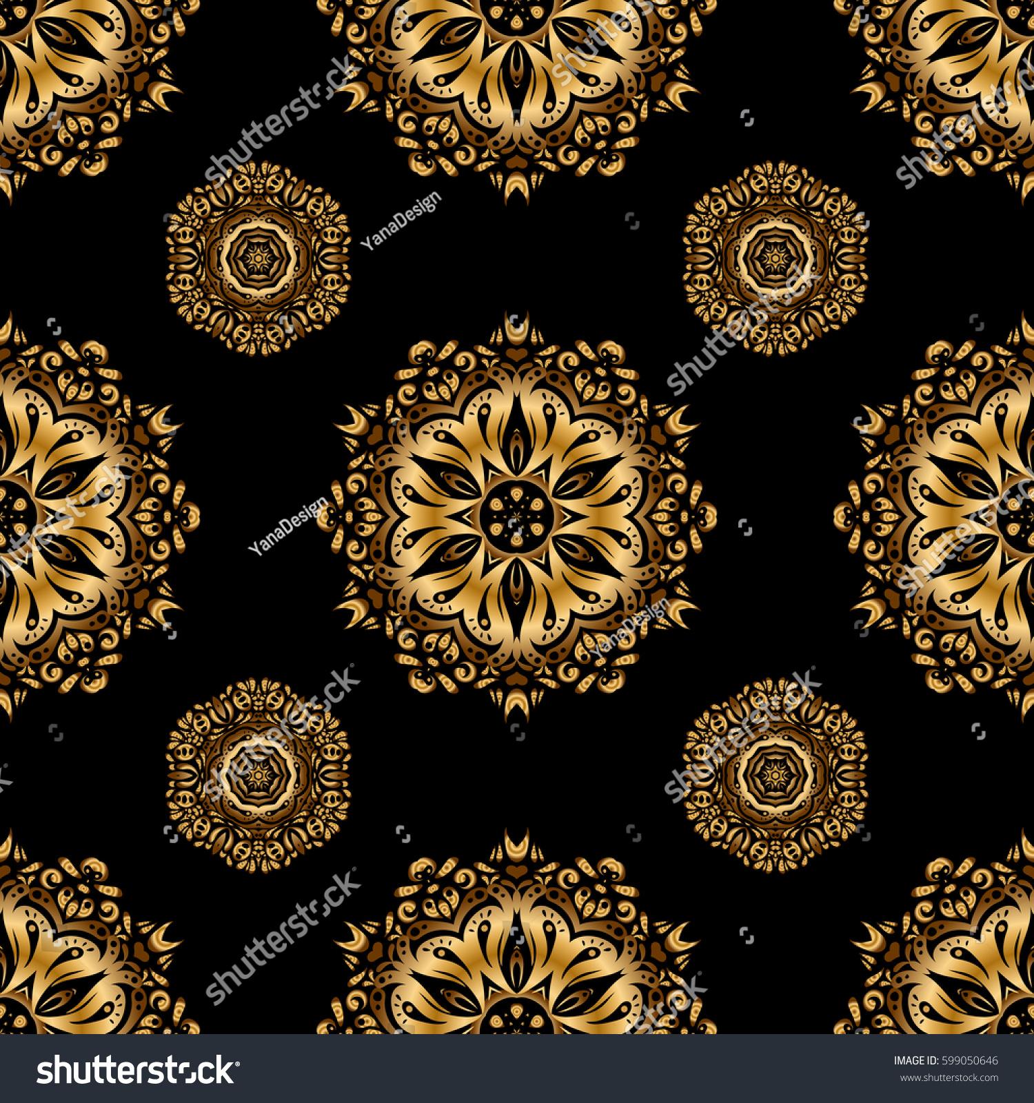 Elegant Golden Ornament Gold Stars Filigree Stock Illustration