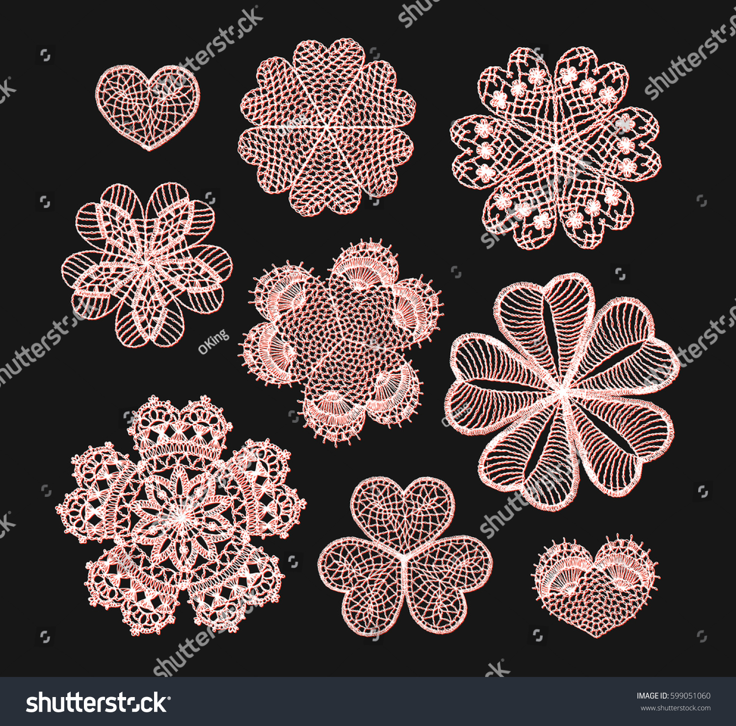 Knitted Flower Mandala Crochet Doily Black Stock Vector 599051060 ...