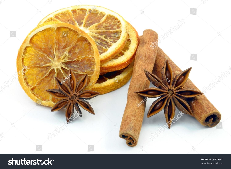 Christmas decoration orange cinnamon isolated on stock for Baking oranges for christmas decoration