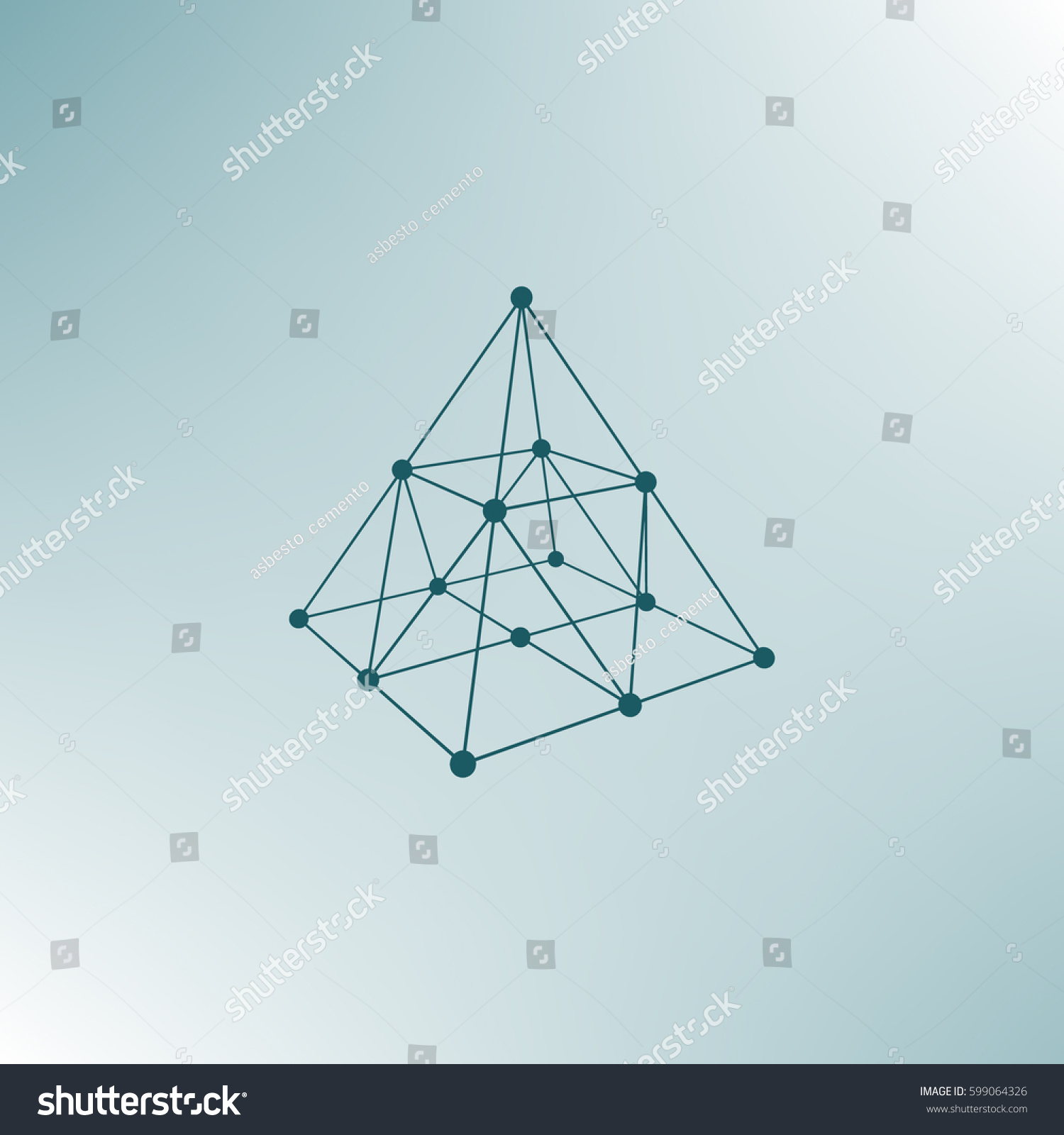 Wire Frame Shape Pyramid Connected Lines Stock Vector 599064326 ...