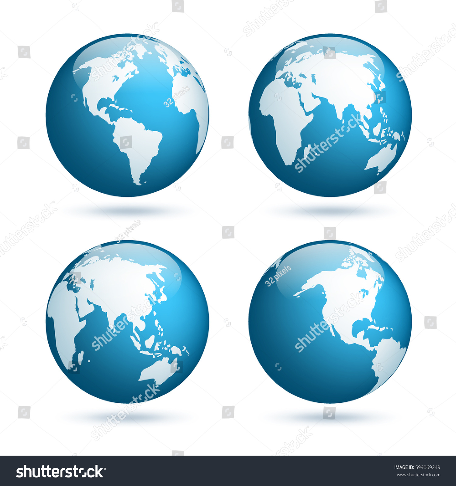 Earth Globe World Map Set Planet Stock Vector Royalty Free
