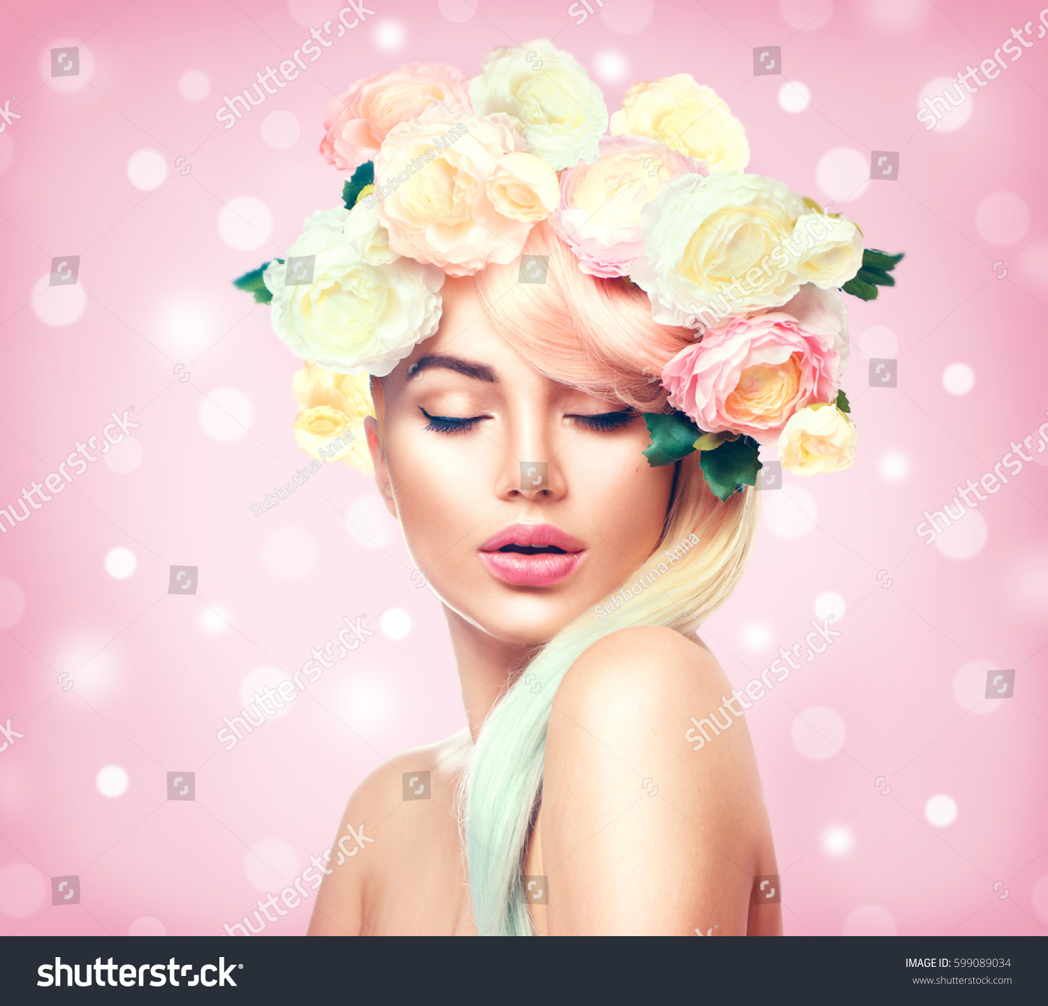 Spring woman beauty summer model girl stock photo edit now beauty summer model girl with colorful flowers wreath and colorful hair flowers izmirmasajfo