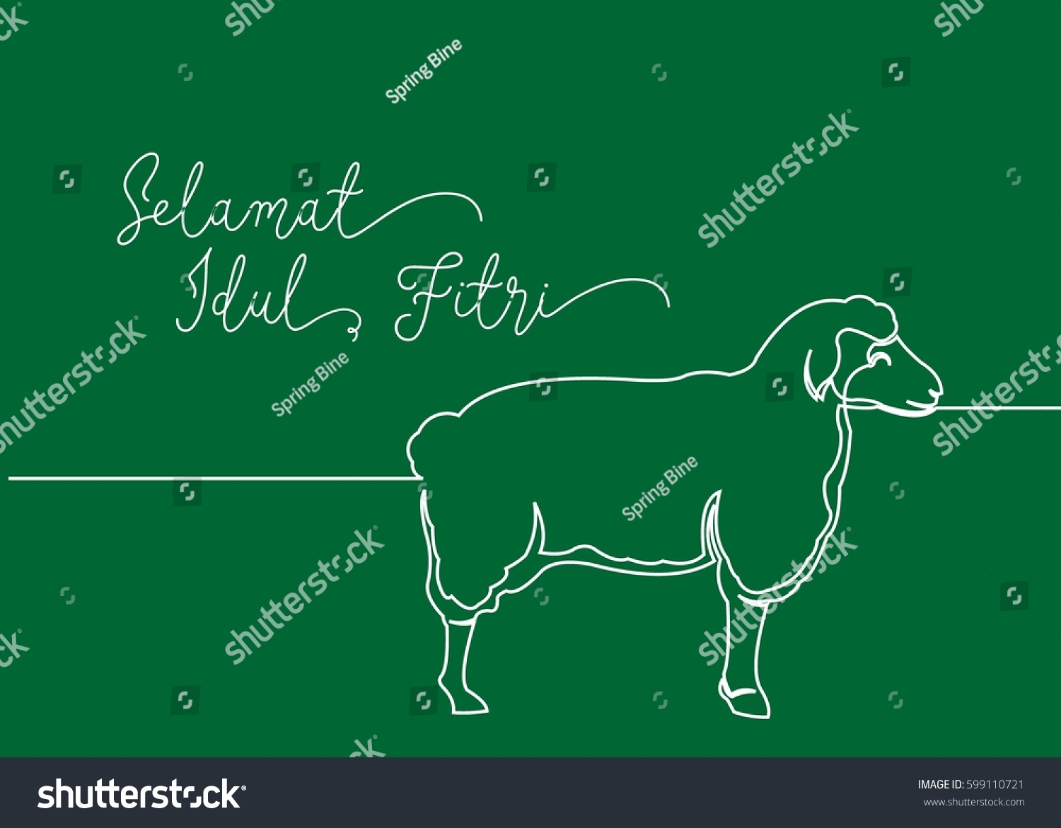 Continues line drawing sheep greeting card stock vector royalty continues line drawing of sheep greeting card contain wording selamat idul fitri in indonesian language m4hsunfo