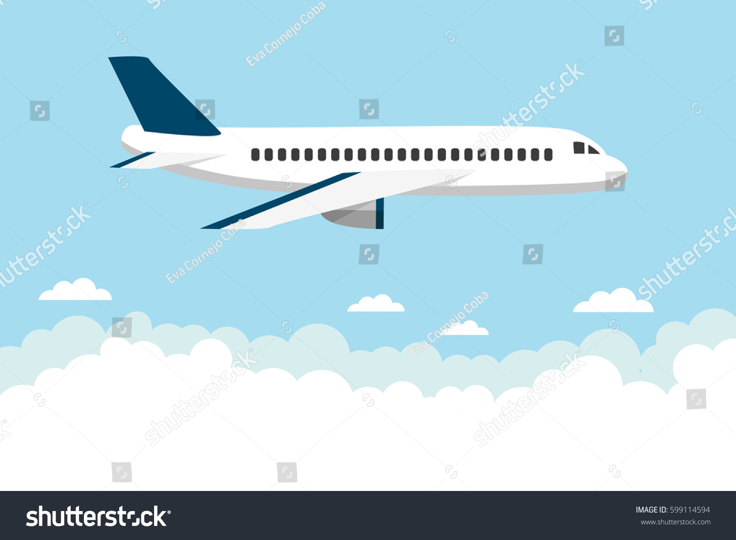 white airplane flying over clouds vector stock vector 599114594