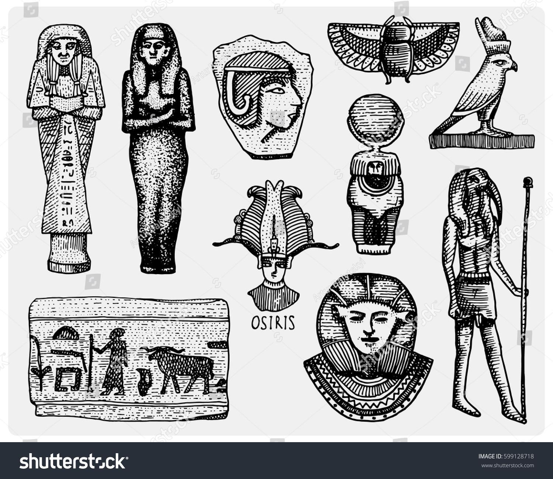 Egyptian Symbols Pharaon Scorob Hieroglyphics Osiris Stock Vector