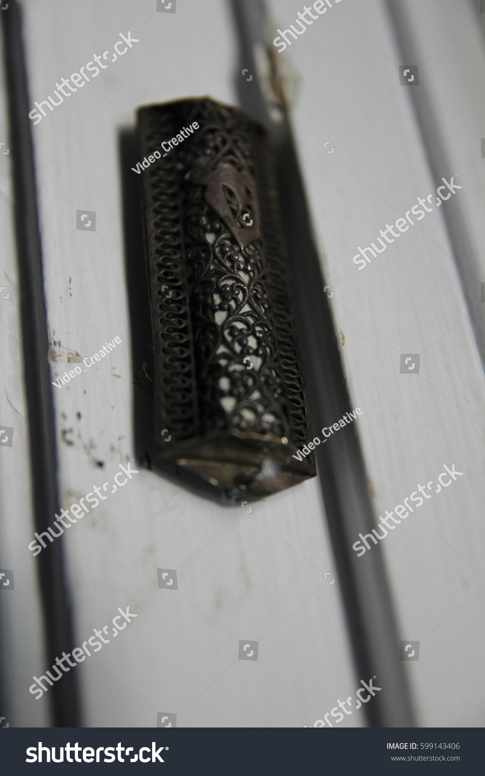 Mezuzah Jewish Prayer Symbol On Door Stock Photo Edit Now